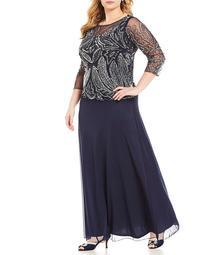 Pisarro Nights Plus Floral Beaded Mock 2-Piece Dress