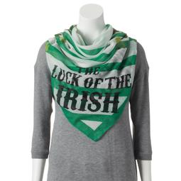 'Luck of the Irish'' Shamrock & Stripes Square Scarf