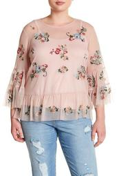 Mesh Embroidered Ruffle Blouse (Plus Size)