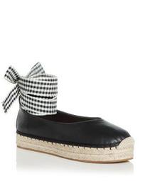 Women's Georgie Leather Ankle Tie Platform Espadrille Flats