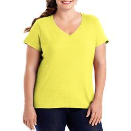 Hanes Women's Plus-Size X-temp Short Sleeve V-neck