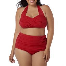 Simply Slim Women's Plus-Size Slimming High-Waisted Bikini Two-Piece Swimsuit Set
