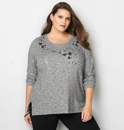 Embellished French Terry Pullover