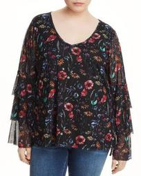 Floral-Print Tiered Sleeve Top