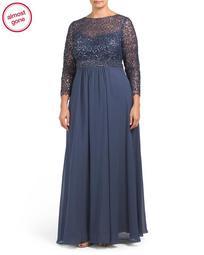 Plus Sequin Lace Bodice Gown