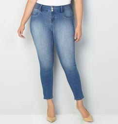 Virtual Stretch® 3-Button Jegging in Med Wash