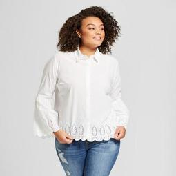b45425fc59433b A New Day™ Women's Plus Size Blouse with Eyelet Detail - A New