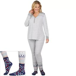 Plus Size Cuddl Duds Pajamas: Lucky Stripes Henley Top, Jogger Pants & Socks 3-Piece PJ Set