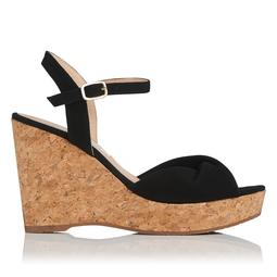 Adeline Black Suede Cork Wedge