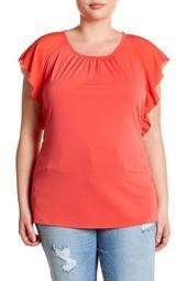 Flounce Sleeve Blouse (Plus Size)