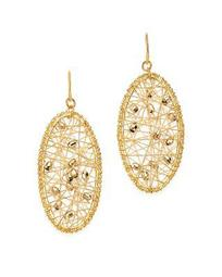 Beaded Oval Drop Earrings in 14K White & Yellow Gold - 100% Exclusive
