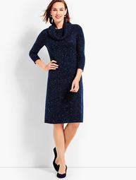 Cowl Neck Tweed Sweater Dress