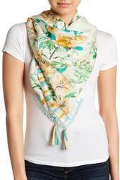 Print & Tassel Silk Scarf