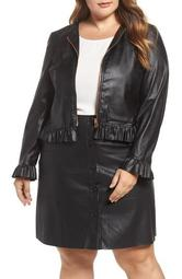 Faux Leather Frill Jacket