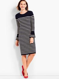 Stripe Cable Knit Shift Dress