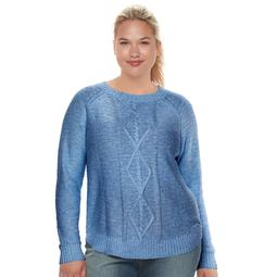 Kohls Juniors\u0027 Plus Size SO® Shirttail Cable,Knit Sweater , On Sale for  $11.40 (regular price $38.00)