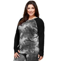 Plus Size Hottotties by Terramar Ashley Raglan Long Sleeve Top