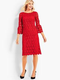 Flounce-Sleeve Dot Lace Dress
