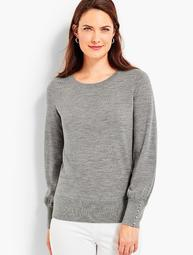 Button-Cuff Merino Wool Sweater