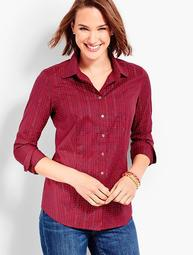 Classic Button-Front Wrinkle-Resistance Shirt - Shimmering Plaid