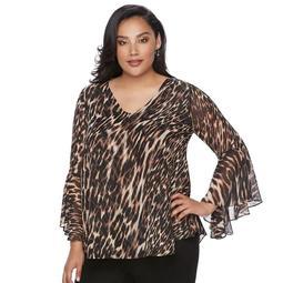 Plus Size Jennifer Lopez Leopard Chiffon Top