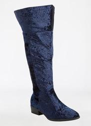 Over The Knee Crocodile Print Velvet Flat Boot - Wide Width
