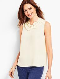 Pleated-Neck Shell - Solid
