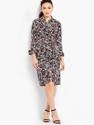 Ruffle-Sleeve Jersey Shirtdress - Vine-Print