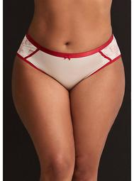 Embroidered Mesh Back Satin Trimmed Hipster Panty