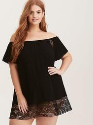 Crochet Inset Off Shoulder Swim Cover Up