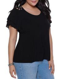 Lace-Up Shoulder Ruffle-Sleeve Top - 100% Exclusive