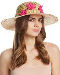 Straw Floppy Hat with Flowers - 100% Exclusive
