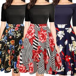 2017 Plus Size Winter Swing Dresses Half Sleeve Vintage Autumn Tunic Dress Women Christmas Floral Retro Hepburn Style
