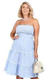 Xehar Women's Plus Size Gingham Smocked Strapless Dress