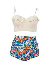 Plus Size Women Floral High Waisted Bikini Swimsuits Push Up Padded Bra Swimwear Bathing Suit