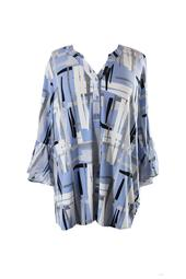 Alfani Plus Size Blue Multi Printed Ruffle-Sleeve Top 1X