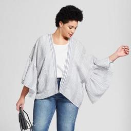 Women's Plus Size Woven Stripe Short Kimono - Universal Thread™ Blue