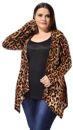Allegra K Women's Plus Size Beige Black Front Opening Cardigan 1X