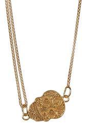 Gold Pull Chain Calavera Necklace
