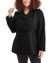 Woman's Plus Size Double-Breasted Faux Wool Peacoat With Hood