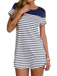 ZANZEA Women's Short Sleeve Stripe Casual Mini Dresses