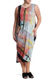 Printed Draped Back Dress (Plus Size)