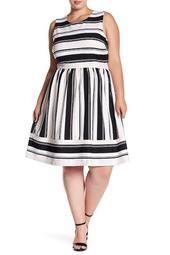 Striped Sleeveless Dress (Plus Size)