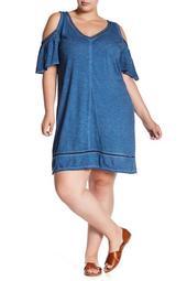 Cold Shoulder V-Neck Dress (Plus Size)