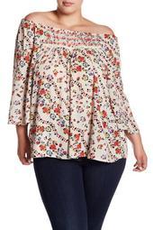 Off-the-Shoulder Floral Top (Plus Size)