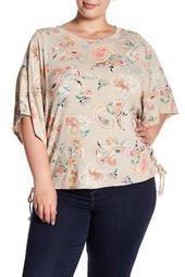 Lace-Up Side Paisley Tee (Plus Size)