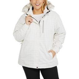 Women's Plus-Size Insulated Ski Jacket With Removable Hood