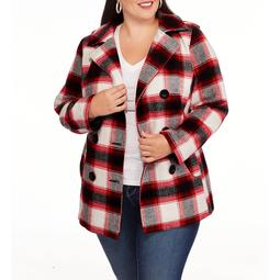 Women's Plus-Size Double-Breasted Faux Wool Peacoat with Hood