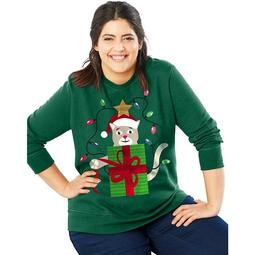 Crewneck Ugly Sweatshirt - Size - 20 - Color - Crazy Catmas/Emerald Night