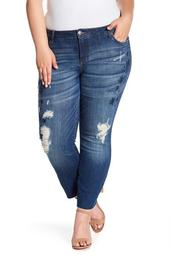 Taylor Embroidered Raw Hem Straight Leg Jeans (Plus Size)